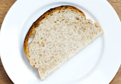 Bread slices (fresh or toasted) - 1/2 slice of bread with added wheatgerm