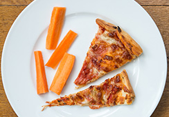 1½ small slices Margherita pizza and 4 carrot sticks