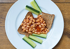 3 tablespoons baked beans, ¾ slice wholemeal toast, 5 small cucumber sticks