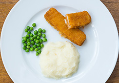 1½ fish fingers, 3 tablespoons mash, 1 tablespoon of peas